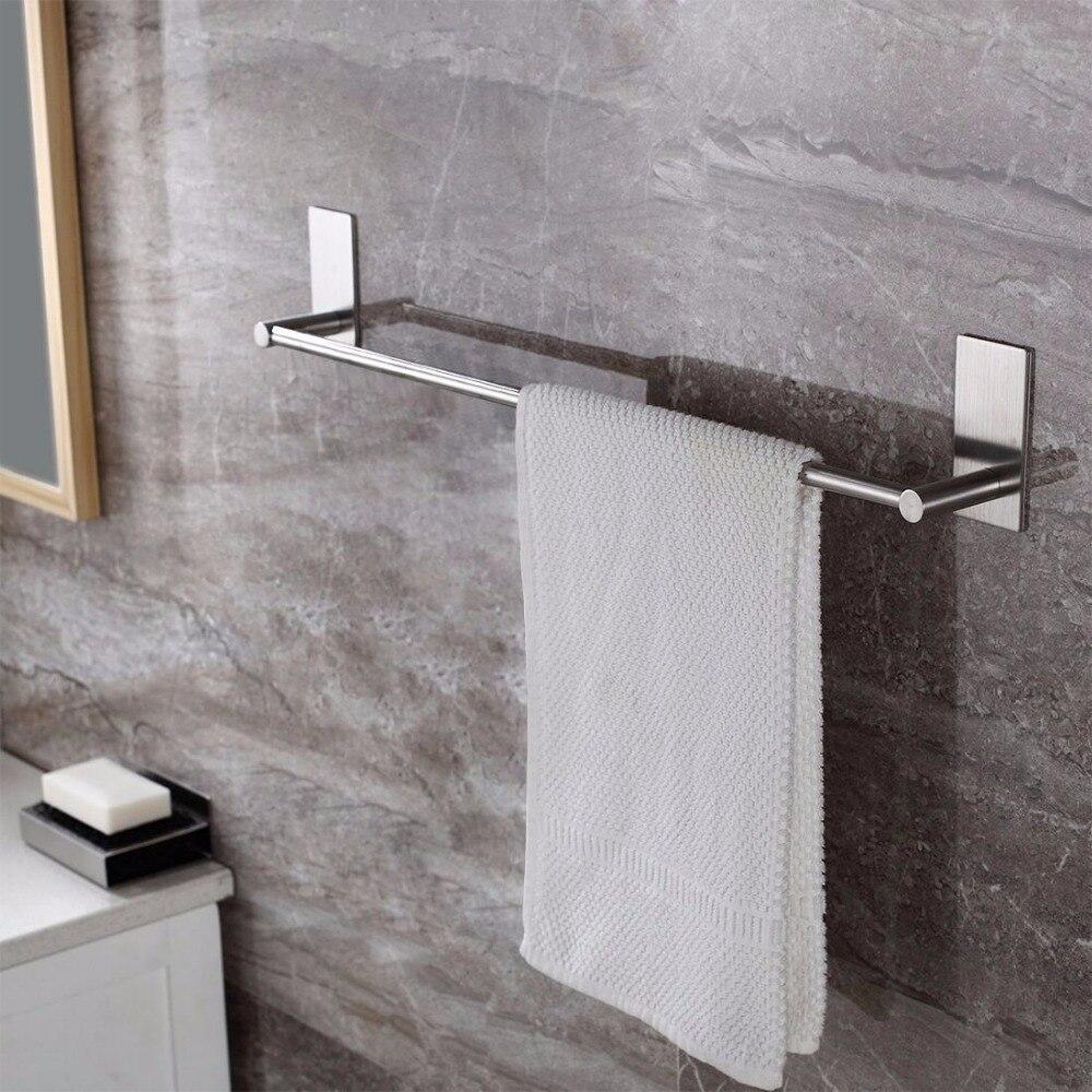 Barra de toalla de baño autoadhesiva cepillada SUS 304 Acero inoxidable Pared de baño estante colgante toallero 3M Stick On Sticky Hanger