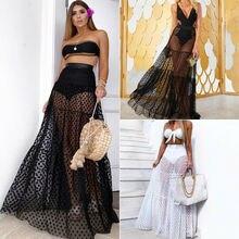 Women Boho Maxi High Waist Sheer Skirt  Retro Polka Dot Long Skirts Club Party Summer Beach Sundres