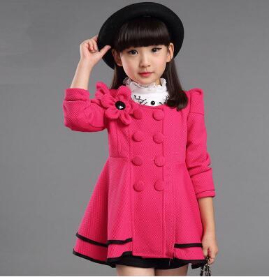 Nova primavera outono meninas casaco longo estilo ombro flor jaqueta crianças blusão outerwear adorável manga cheia crianças roupas