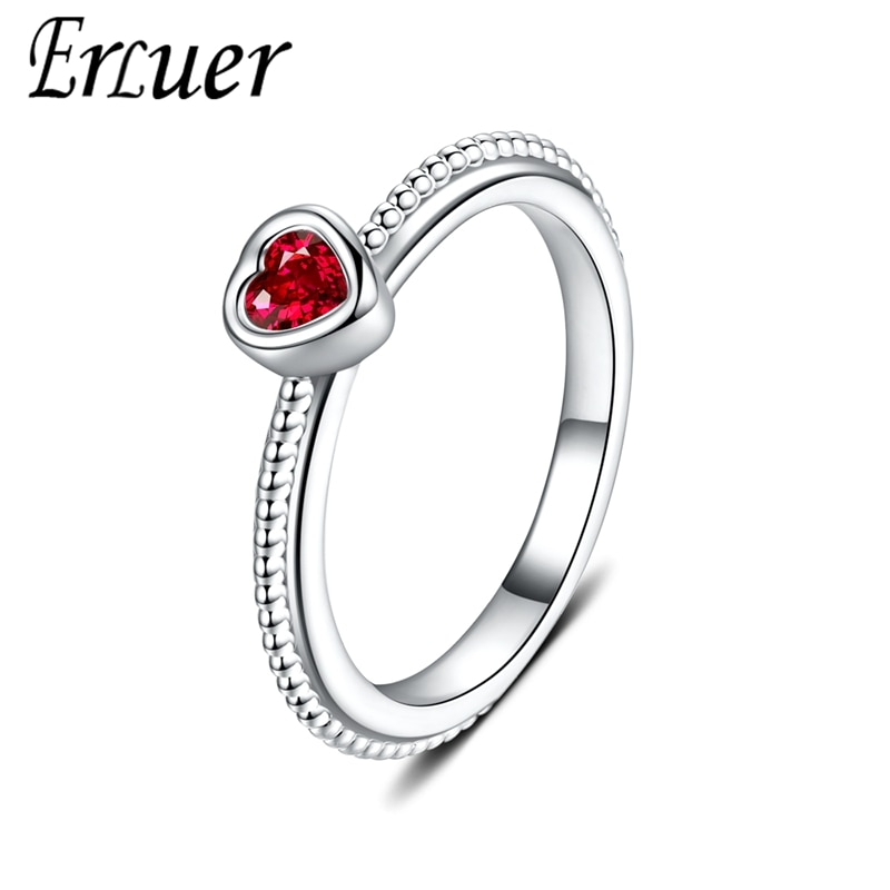 Anillos ERLUER para mujer, joyería en forma de corazón de circonio rojo, anillo de cristal romántico para niña, accesorios para regalo del Día de San Valentín