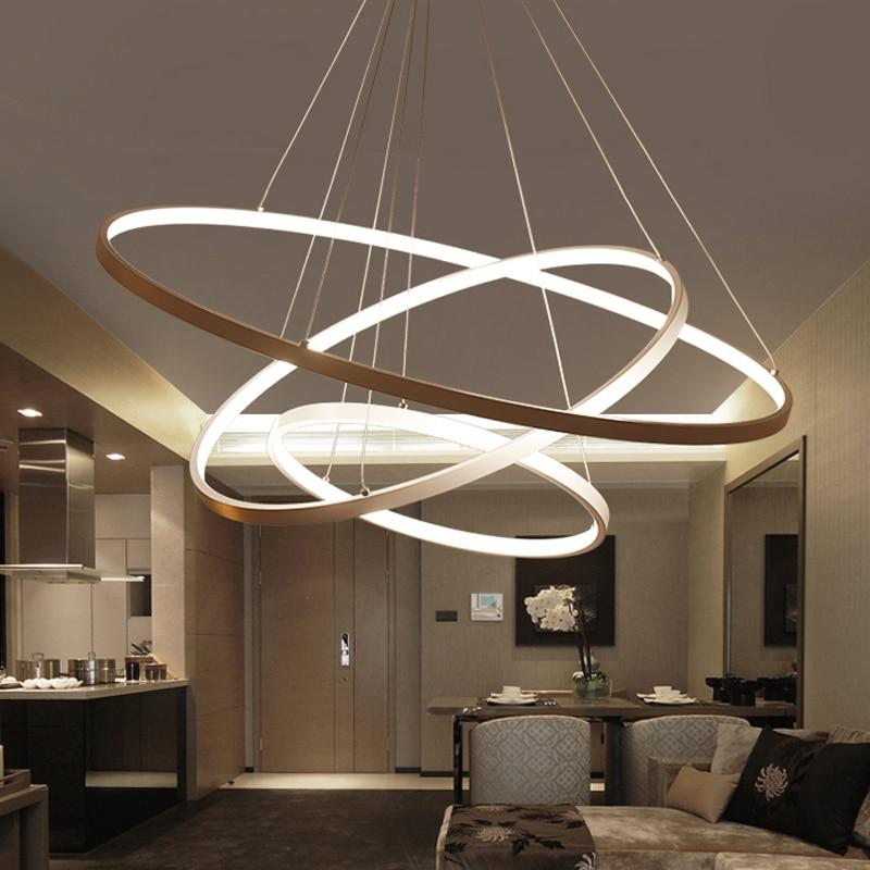 60CM 80CM 100CM Modern Pendant Lights For Living Room Dining Room Circle Rings Acrylic Aluminum Body LED Ceiling Lamp Fixtures