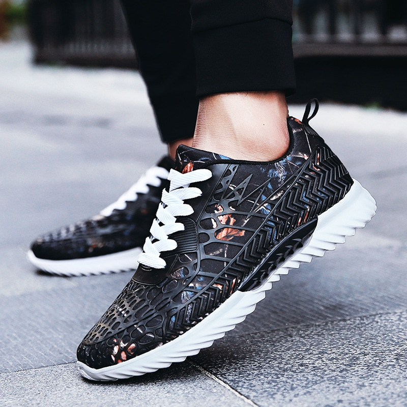Zapatillas deportivas con cordones para Hombre, zapatos masculinos De color negro, transpirables,...