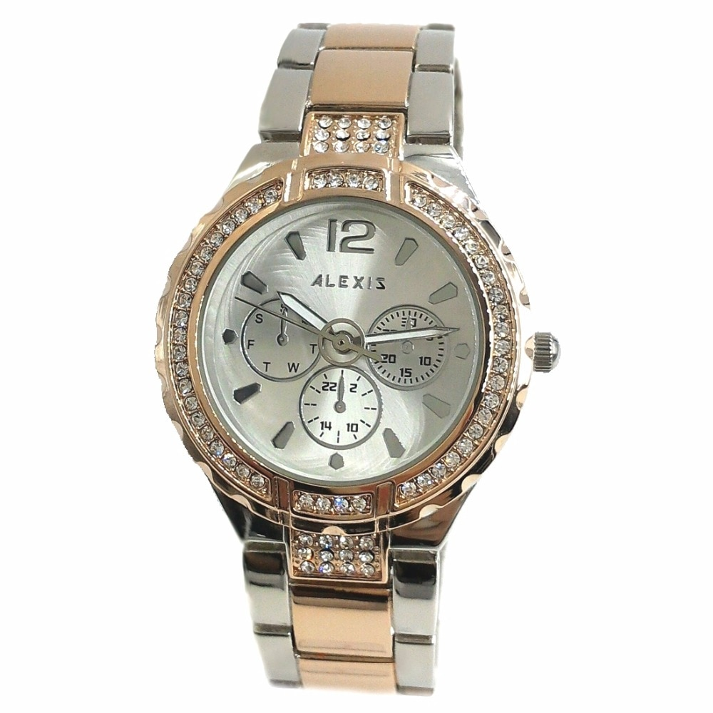 Alexis Ladies Analog Quartz Round Watch Japan PC21J Movement Rose Gold with Shiny Metal Band Silver Dial Water Resistant enlarge