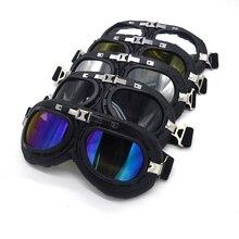 Lunettes de casque en cuir PU moto   Vintage, lunettes déquitation, en cuivre pour Harley Cruiser Chopper café Racer Triumph
