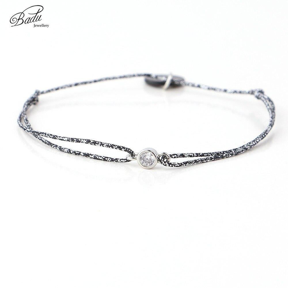 Badu melhor amigo pulseira moda simplicidade pequena corda minúsculos pulseiras presente strass charme jóias femininas