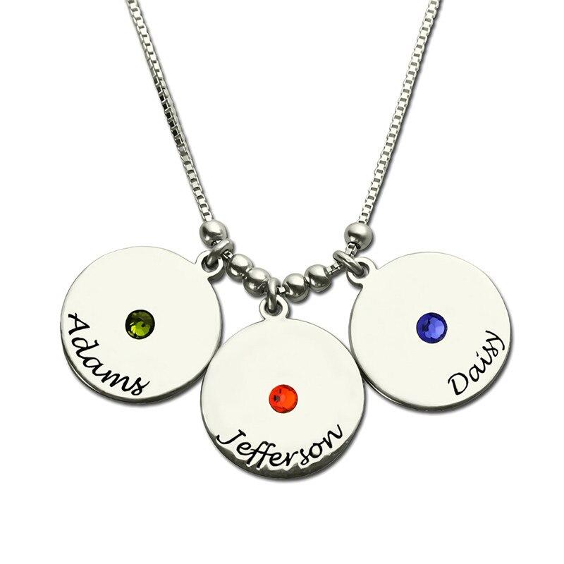 Collar de plata 925 personalizado, grabado de 3 nombres con piedras de nacimiento, colgante redondo, collar para mujer, regalo de madre Mamá # SS40