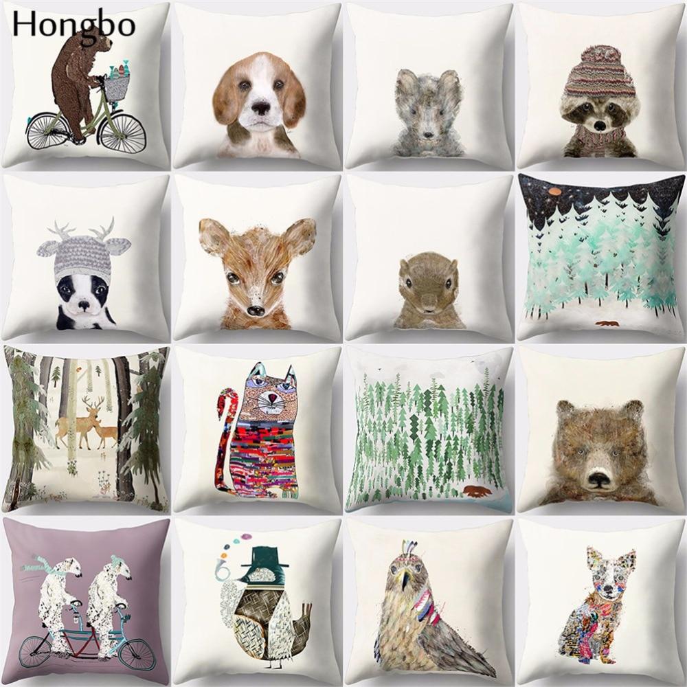 Hongbo 1 Pcs Cute Cartoon Cat Bear Dog Elk Deer Pillow Case Cushion Cover Bed Pillowcase For Car Sofa Seat Home Decor