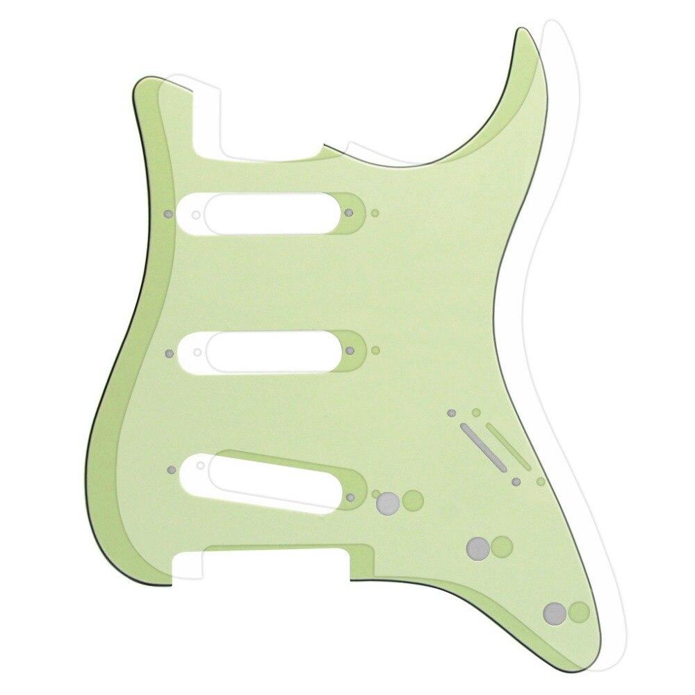 Pas de trous latéraux 3Ply guitare Pickguard Strat SSS vert menthe & Transparent modèle pour FD ST accessoires de pièces de guitare
