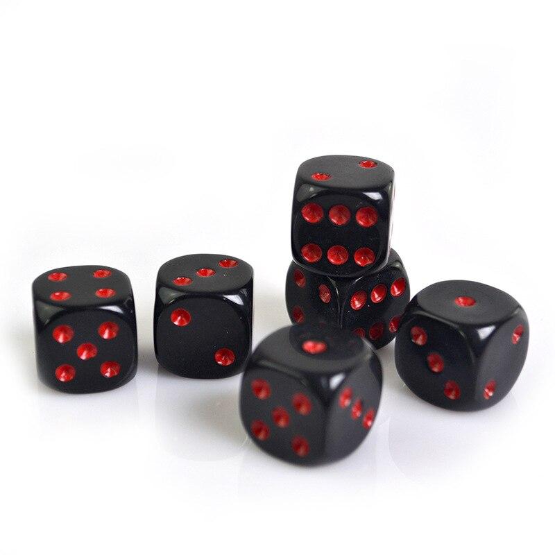 6 Pcs comércio exterior novo 16mm acrílico preto red dot preto vermelho arredondado dados finas