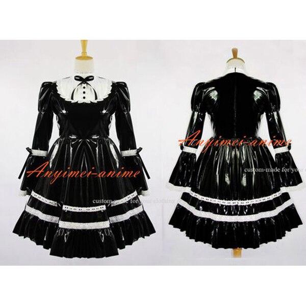 Sissy Maid Cothic Lolita Black Pvc Dress Lockable Uniform Cosplay Costume Custom-made[G615]