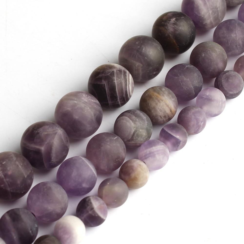 Flor natural mate, cuentas de piedra amatista, 6/8/10mm, cuentas de piedra de cristal Morado para fabricación de joyas, collar de pulsera de 15 pulgadas