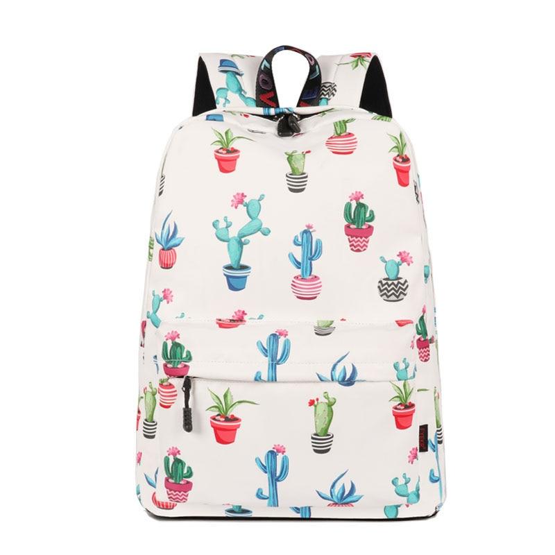 3 unids/lote la escuela mochila para chicas adolescentes Casual mujeres Cactus impreso resistente al agua portátil mochila diaria mochila Mochilas