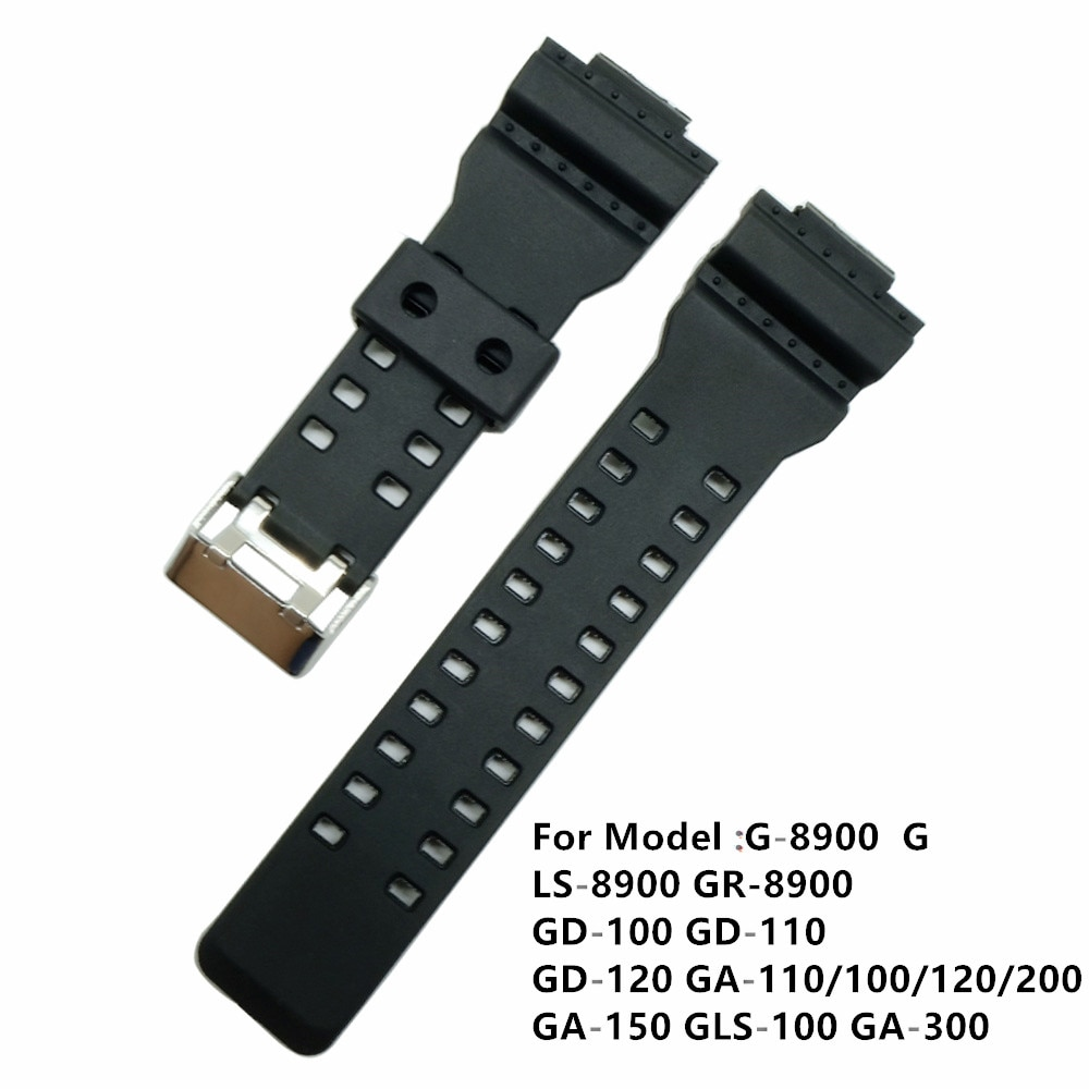 Black 16mm Replacement Silicone Strap Band Stainless Steel Clasp For GA-100/GA-300/GA-110/GA-120/G-8900 Driving Sport Watchband