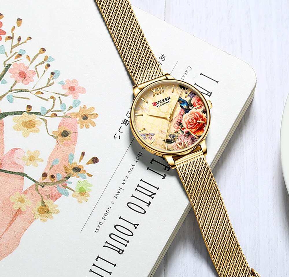 CURREN Golden Lady Watch Flower Bird Garden Slim Mesh Steel Band Bracelet Quartz Waterproof Women Fashion Wristwatch Reloj Mujer enlarge