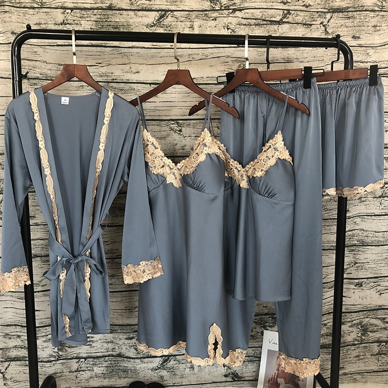 2018 Женская атласная пижама, 5 шт., пижамы, сексуальные кружевные пижамы, пижама для сна, шелковая ночная Домашняя одежда, Пижамный костюм