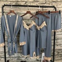 2018 femmes Satin vêtements de nuit 5 pièces Pyjamas Sexy dentelle Pyjamas sommeil salon Pijama soie nuit maison vêtements pyjama costume