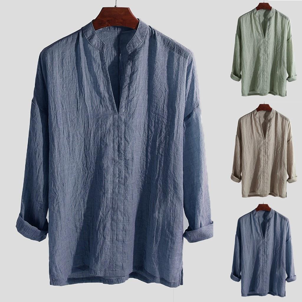 Camisa casual de talla grande de verano 2019 para hombre, camisa de manga larga transpirable suelta de Color sólido con cuello en V, blusa masculina hawaiana