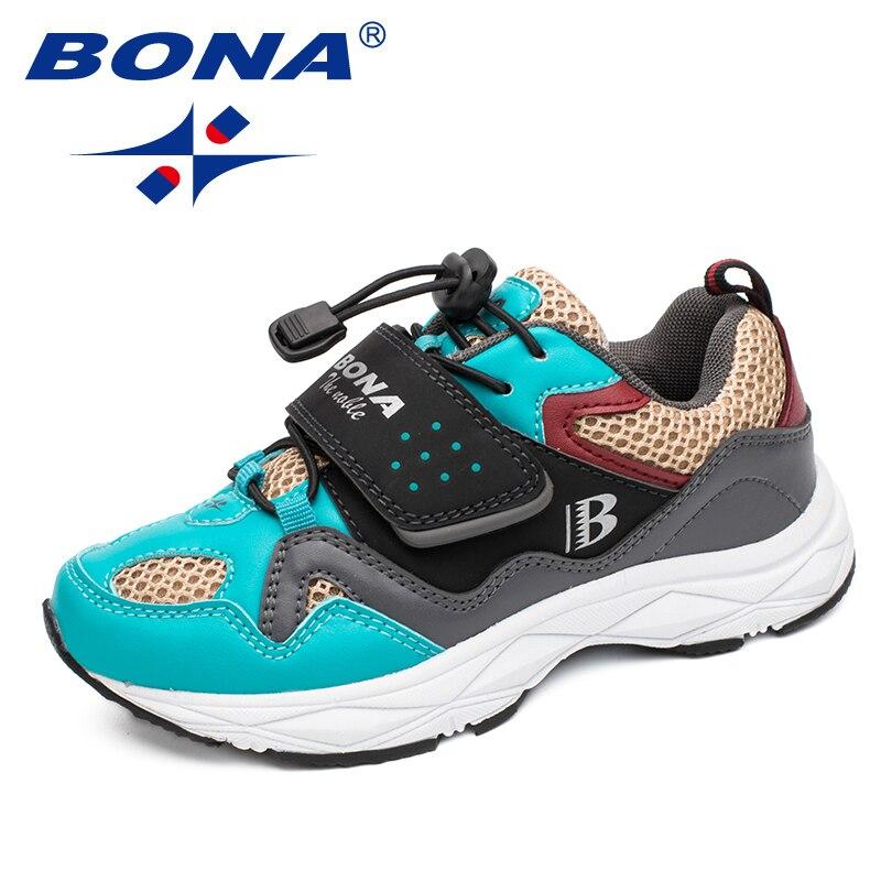 BONA, recién llegado, zapatos casuales de estilo caliente para niños, zapatos de velcro para niños, zapatos sintéticos para niñas, zapatos cómodos ligeros, envío gratis