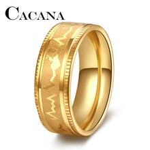 Кольца CACANA для женщин, кольцо с электрокардиограммой полного размера, простое ECG кольцо для вечеринки, электрокардиограмма для мужчин и женщин, кольцо из нержавеющей стали