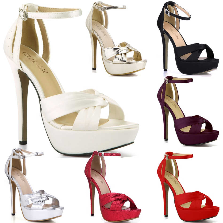 CHMILE CHAU Ivory Satin Elegant Wedding Party Women's Shoes Open Toe Stiletto Heel Dating Platform Sandals with Buckle 3463SL-b1