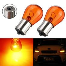 1Pair 21W DC12V PY21W 1156 BA15S 581 Amber Color Glass Car Auto Stop Light Car Brake Bulb Indicator Lamp Turn Signal Light