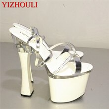 Big Size Beautiful Ankle Strap 18cm Thick High Heel Platforms Pole Dance Shoes, Dress / Wedding Dance Shoes