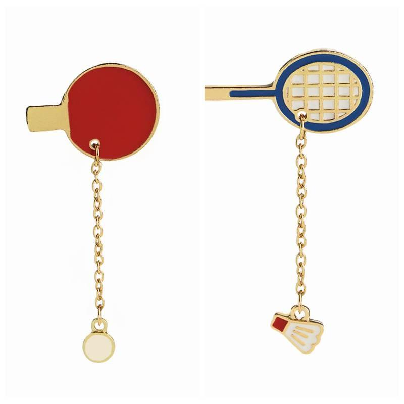 Broches de raquetas de tenis de mesa Zhijia, broches de raquetas de bádminton esmaltados, broches de bádminton para amantes del deporte