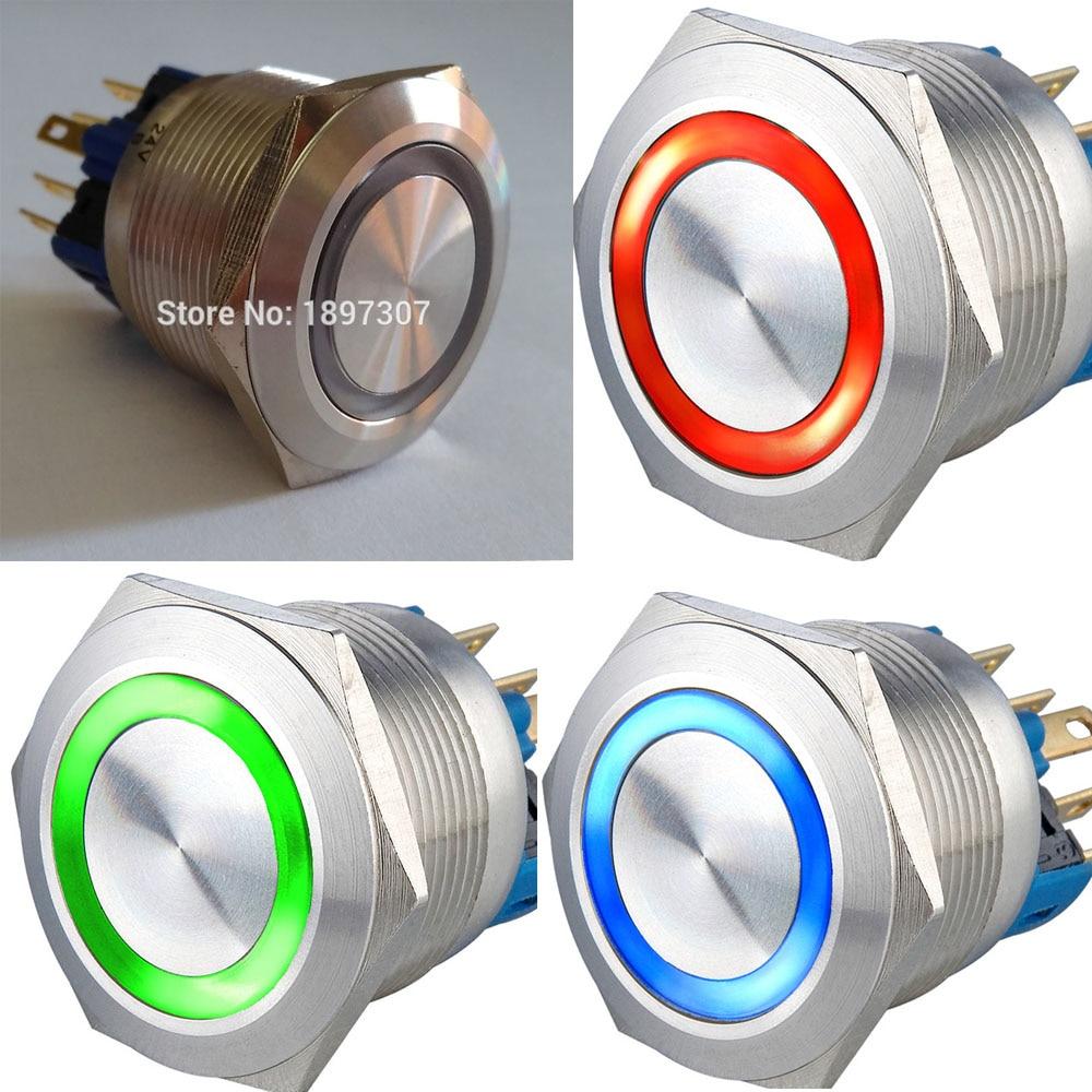 22mm momentáneo 6V 12V 24V Tri-color RGB (rojo/verde/azul) LED anillo LED de acero inoxidable interruptor de botón CE, ROHS