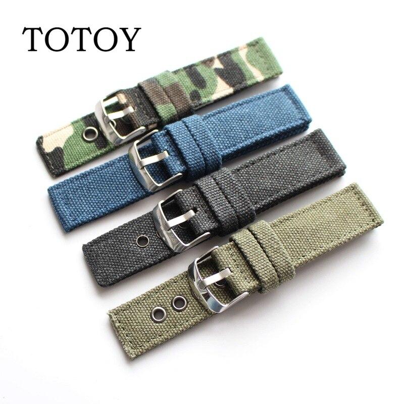Totoy preto/verde pulseiras de lona, alta qualidade 22mm/20mm retro verão pulseiras, anti-suor cinta masculina