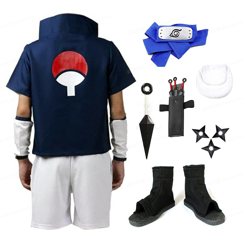 اليابان أنيمي Uchiha Sasuke تأثيري حلي والأزرق عقال مجموعة كاملة ازياء