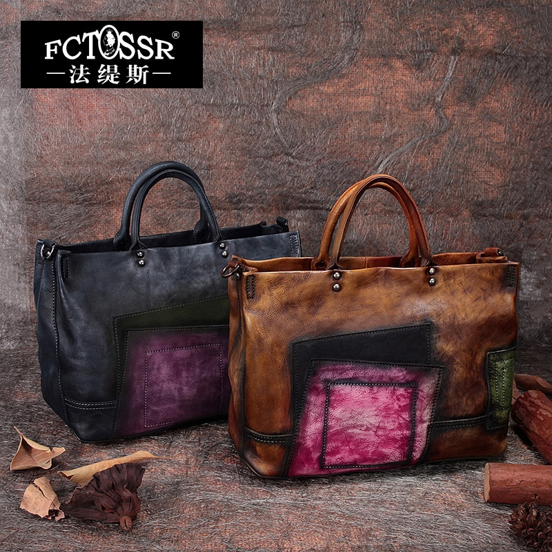2019 bolsos de mano Vintage hechos a mano para mujer, bandolera cruzada con asa superior, bolsos de mano grandes de cuero de vaca, bolsos de mujer de Color mixto