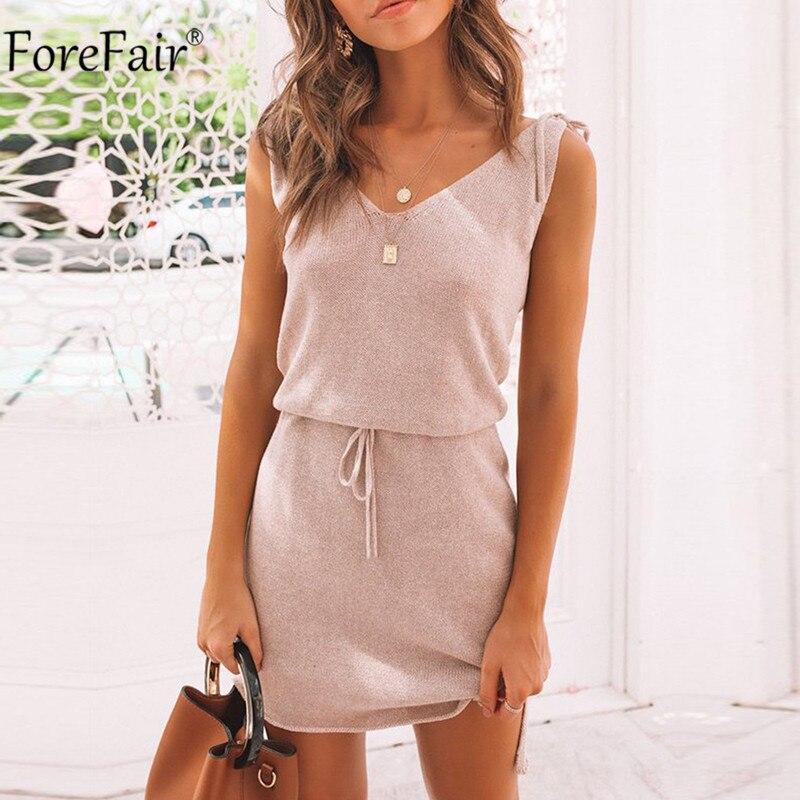 Forefair-vestido con escote en V para mujer, vestido informal con tirantes, sin espalda y con tirantes de encaje para verano