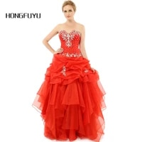 vestido de festa longo 2019 ball gown perfect quinceanera dresses red organza crystals fashion quinceanera gowns wholesale