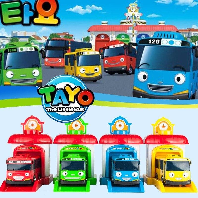 [Arriba] 4 unids/set escala modelo Tayo el autobús niños miniatura autobús bebé oyuncak garaje bus tayo vehículos juguetes de los niños