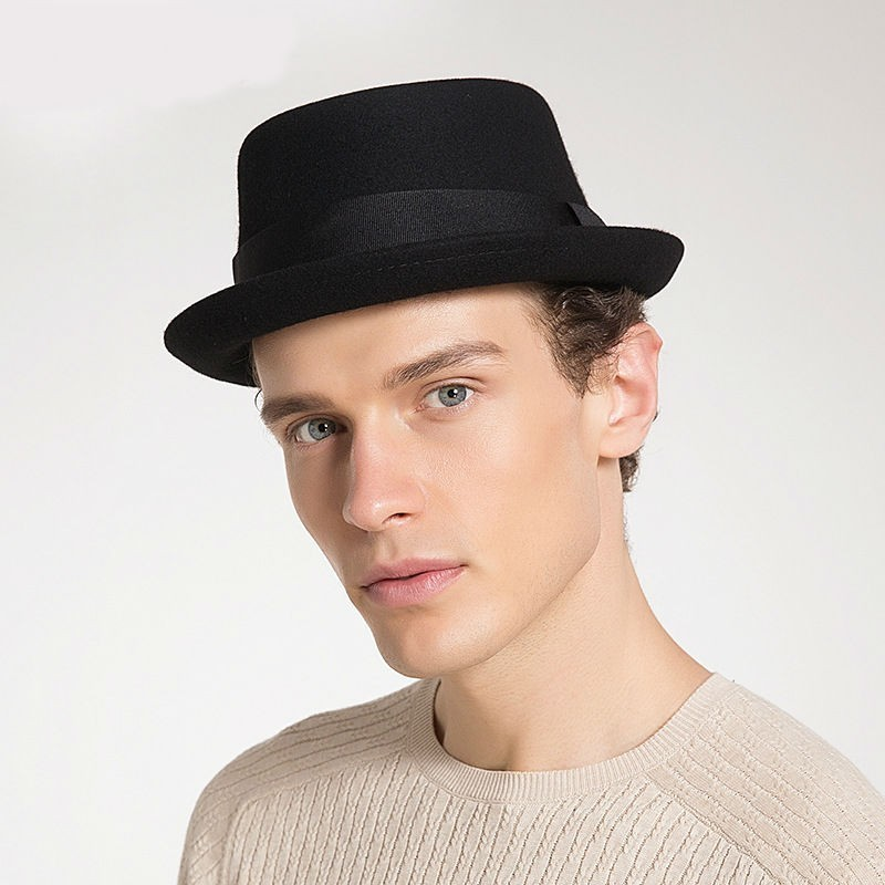 2019 Hat Fashion 100% Australia Wool Men's Fedora Hat with Pork Pie Hat for Classic Church Wool Felt Hat