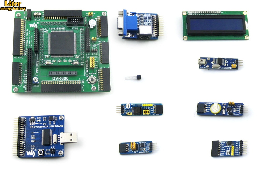Placa de desarrollo XILINX FPGA Kit de evaluación Xilinx Spartan-3E XC3S500E + 10 Kits de accesorios = Paquete A de wavesharve