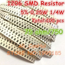 Résistance cms 100 1206 5% 75 ohm 75R 750 1/4W 0.25W   3.2x1.6mm, pièces/lot