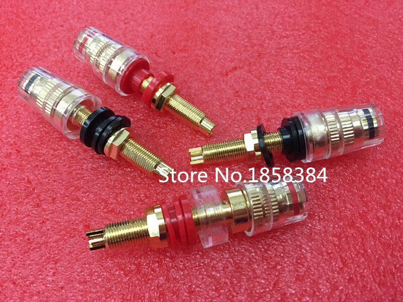 4pcs Black & Red Thread Gold Plated Audio Speaker Binding Post Banana Plug Terminals