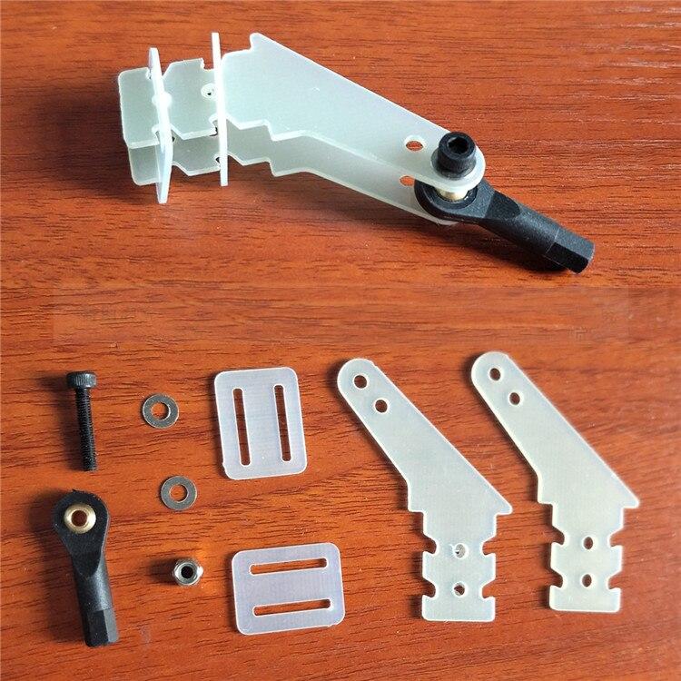 4 Uds Servo Vertical de fibra de vidrio timón Rocker claxon de brazo + cabezal de bola conjunto de varillas de conexión para avión gasolina RC 26-50CC