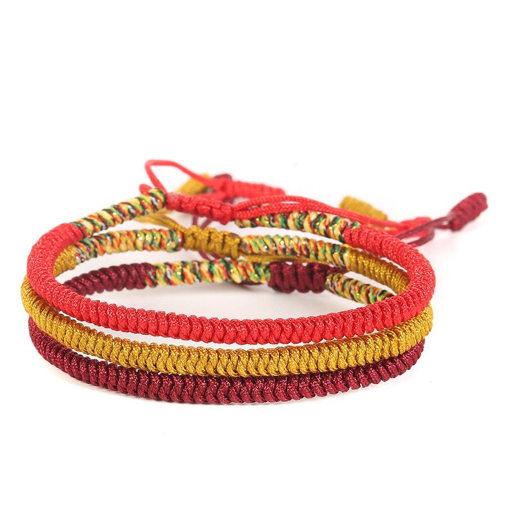 Горячая Распродажа красные желтые Тибетские буддийские хорошие счастливые браслеты с амулетами и браслеты женские и мужские ручной работы...