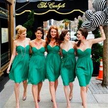 Robes de demoiselle dhonneur courtes vert Sexy sans manches genou longueur été robes de mariage 2019 vente en gros mousseline de soie robe de demoiselle dhonneur