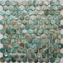 Envío Gratis, azulejo de mosaico de madre perla teñido de verde color natural chino de agua dulce para azulejo de pared decorativo de baño