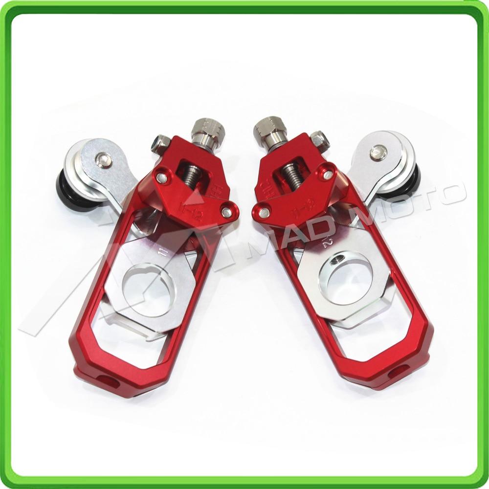 Tensor de cadena para motocicleta ajustador con paddock bobinas kit para Kawasaki Ninja ZX6R ZX-6R ZX-636 ZX636 2013, 2014, 2015, 2016 rojo