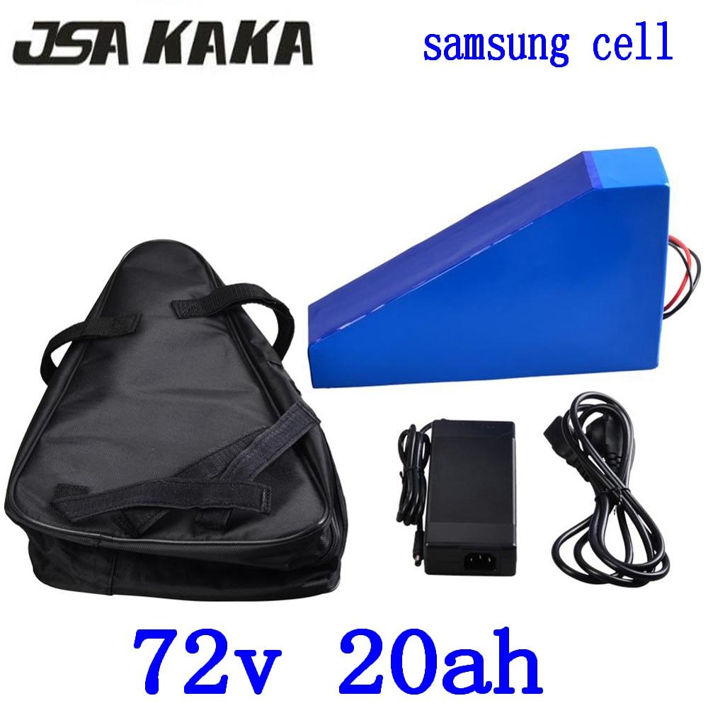 Batería triangular de litio 72V 20AH 72V 20AH e batería de bicicleta 72V 2000W 3000W batería de bicicleta eléctrica utiliza la célula de samsung con cargador de 84V