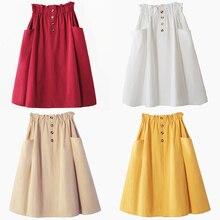 Harajuku taille haute Midi jupe femmes Peplum bouton poche plissée fille vintage jaune coréen élégant une ligne école jupe 204