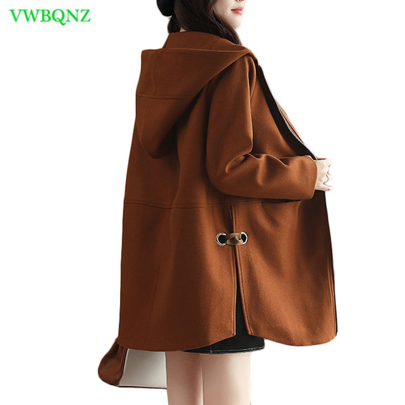 Outono inverno coreano casaco de lã feminino solto longo casaco casual casacos das mulheres em linha reta caramelo cor com capuz outerwear maré a363