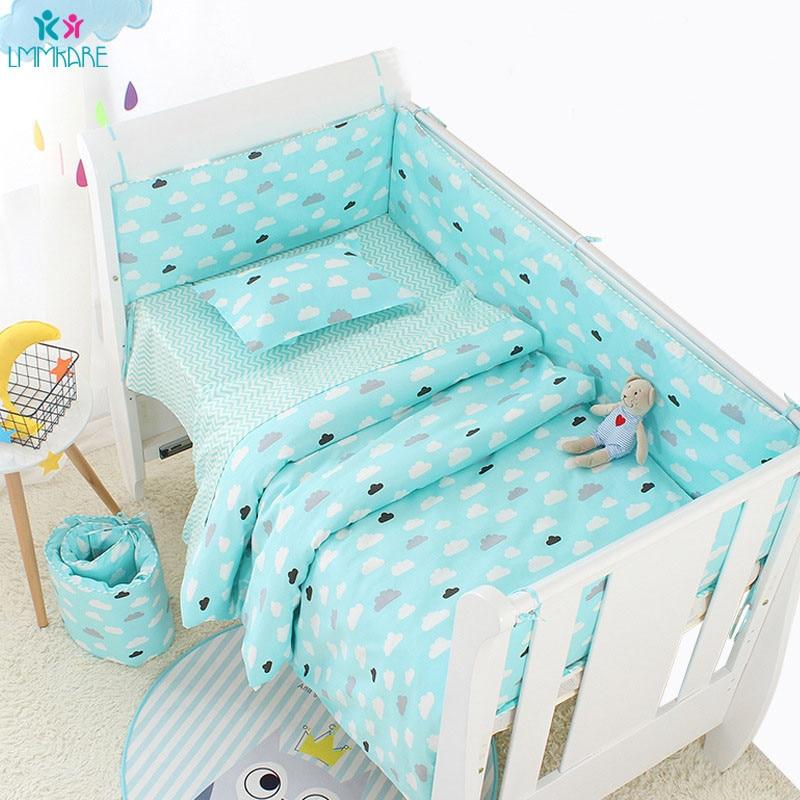 6 pièces coton doux bleu nuage bébé lit de berceau pare-chocs lit de bébé lit de bébé pare-chocs protecteur de lit sûr pour les ensembles de literie nouveau-né enfant en bas âge