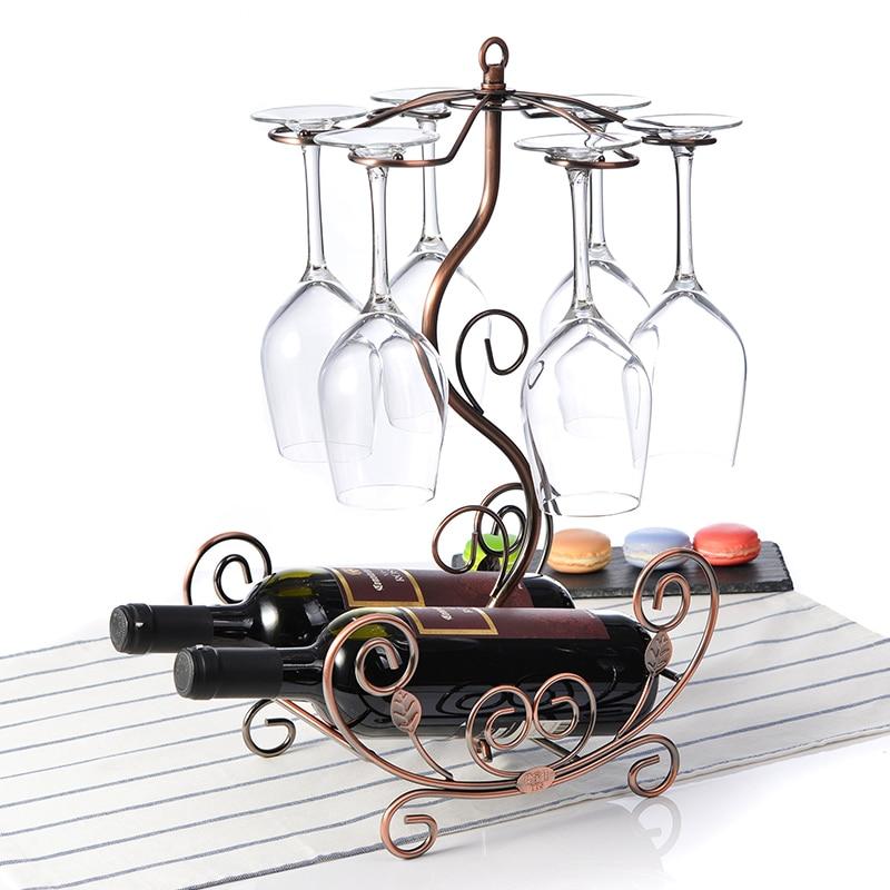 European style wine glass rack hanging bottles metal racks wine bottles glass organizers home decorations