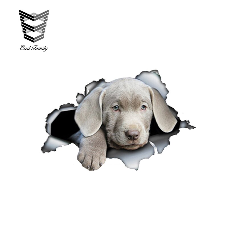 EARLFAMILY 13cm x 8,5 cm de plata laboratorio perro etiqueta engomada del coche de Metal roto etiqueta plata reflectante Labrador pegatinas perro calcomanías de vinilo