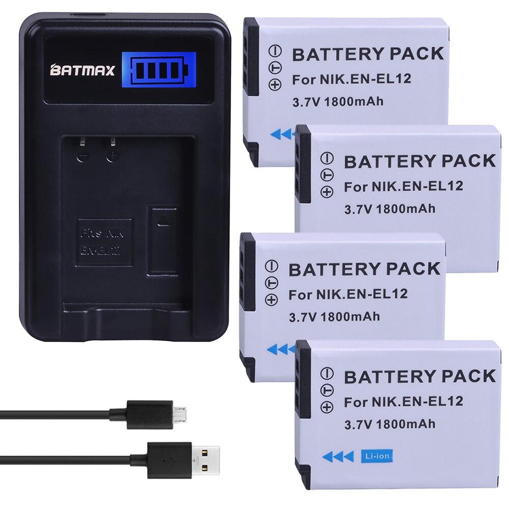 4 pçs 1800 mah EN-EL12 en el12 baterias da câmera + usb carregador lcd para nikon coolpix aw100 aw120 s9900 s9500 s9500 s8200 s6300 p330